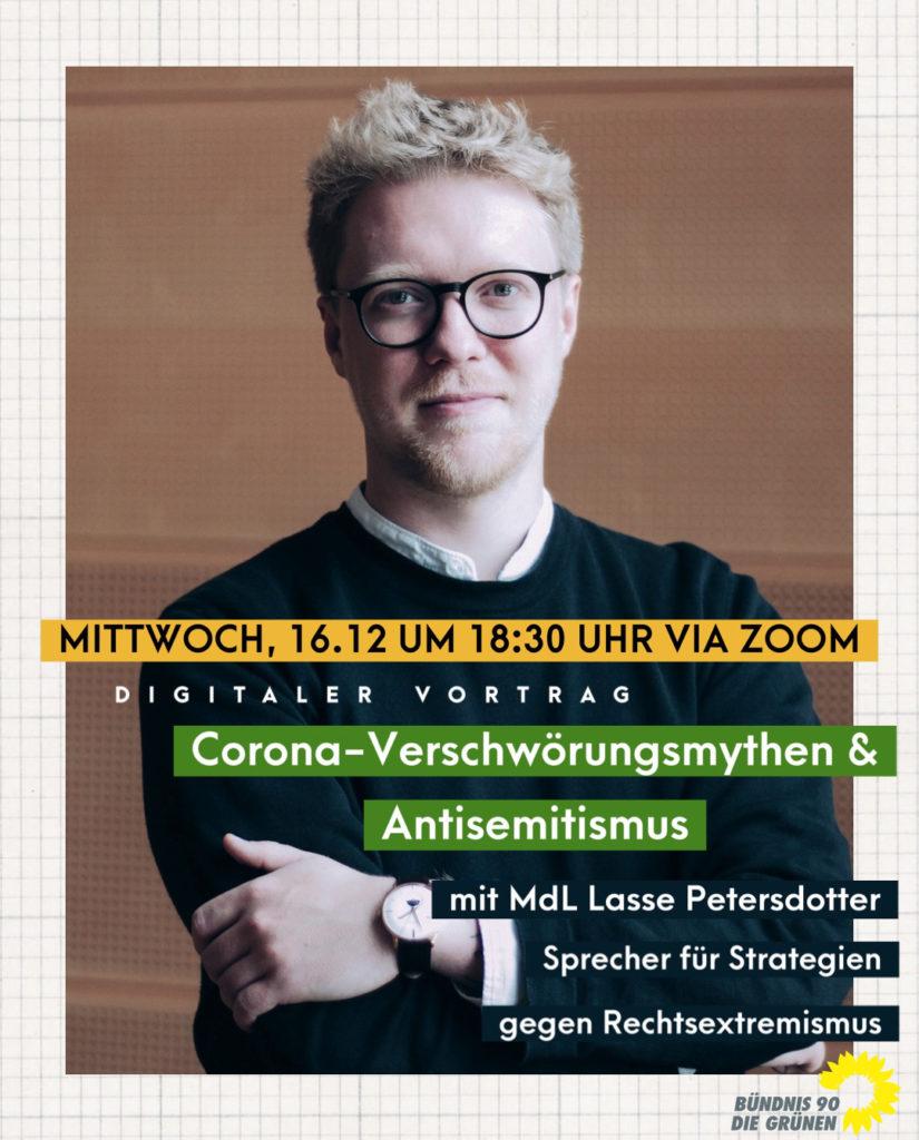 Corona-Verschwörungsmythen & Antisemitismus Vortrag von MdL Lasse Petersdotter